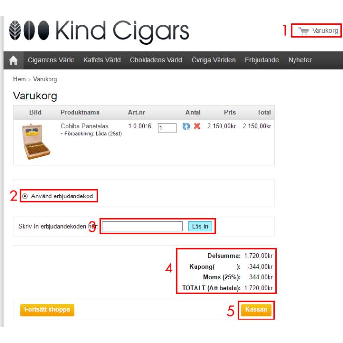Så här använder du erbjudandekoder på kindcigars.se