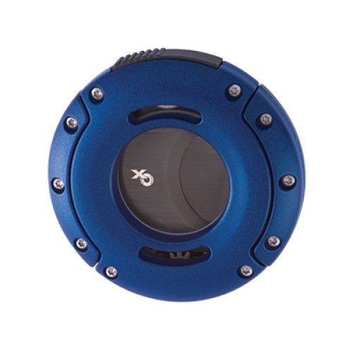 Xikar XO dubbelgiljotin - blå med svarta blad
