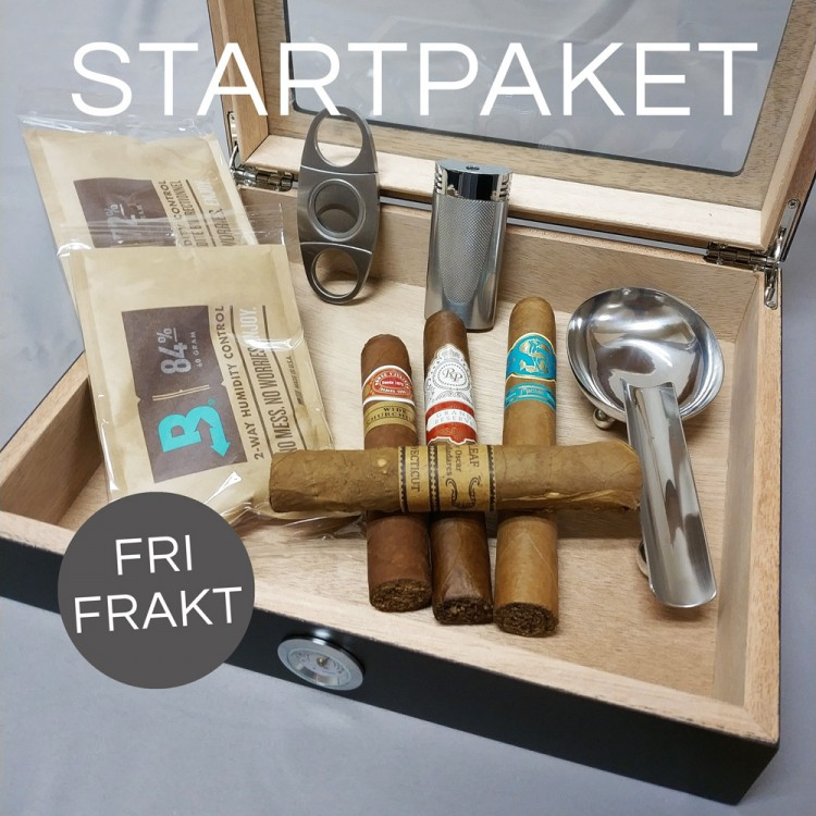 Startpaket med humidor, tändare, klippare, askfat och cigarrer
